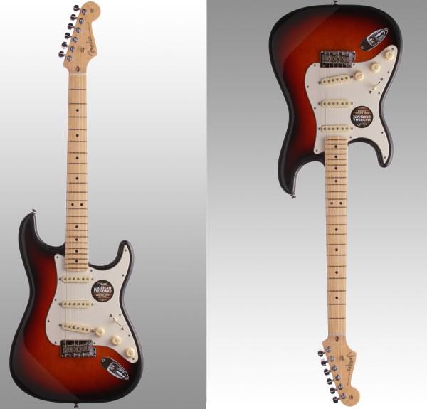 Uma Fender Strat Up e a mesma Fender Strat Down.