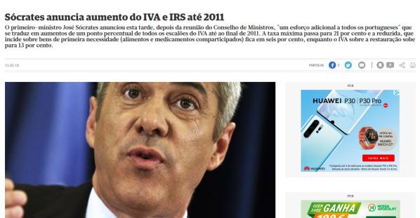 Sócrates anuncia aumento do IVA e IRS até 2011 Política Correio da Manhã