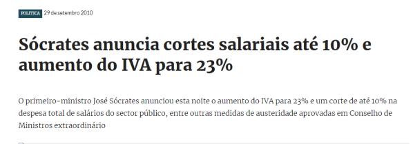 Sócrates anuncia cortes salariais até 10 e aumento do IVA para 23