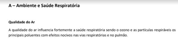 relatório sobre qualidade do ar